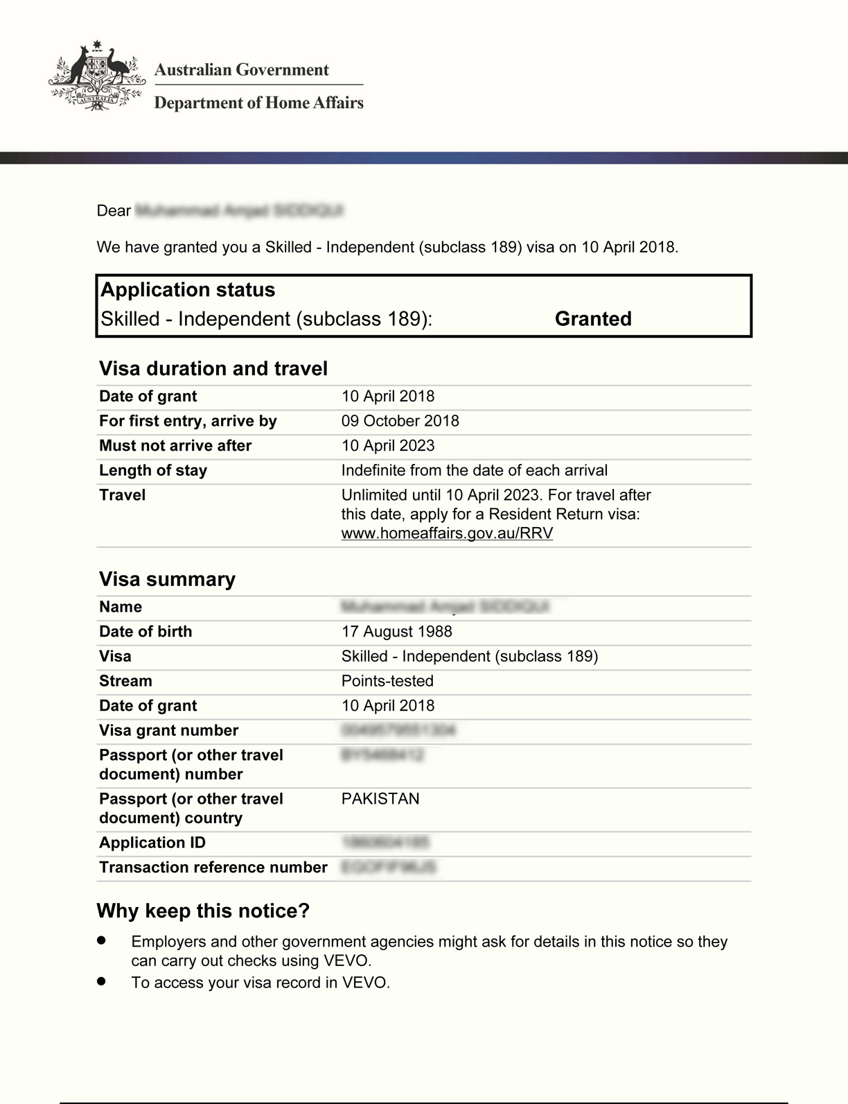 Australia Visa Grants