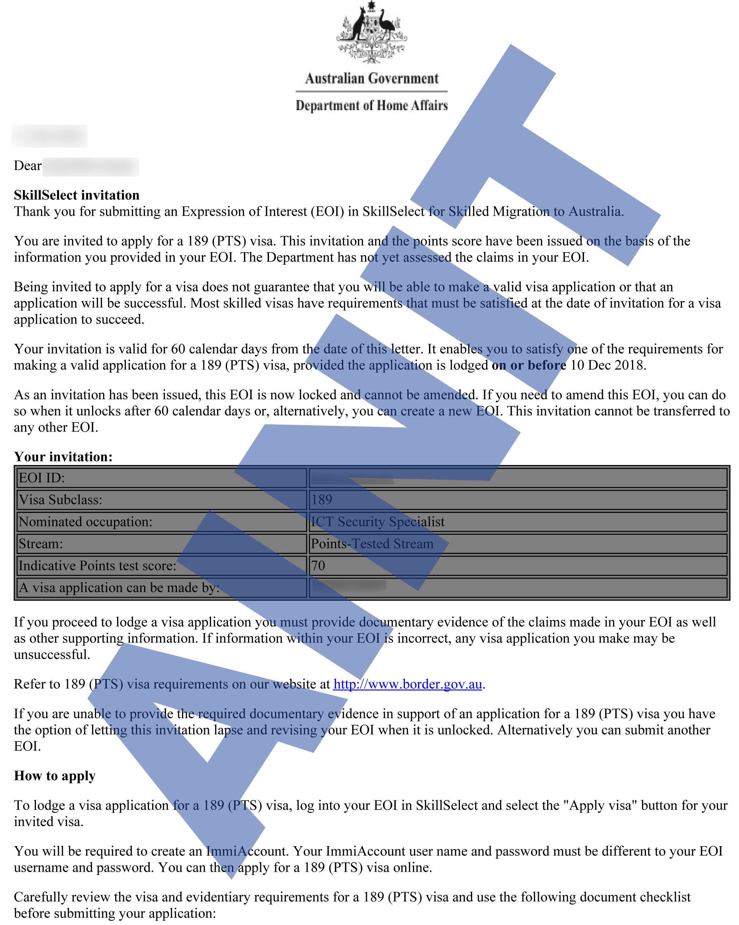 Australia EOI Approvals
